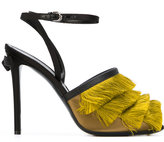 Marco De Vincenzo fringe-trimmed sandals - women - Calf Leather/Leather/other fibers - 36