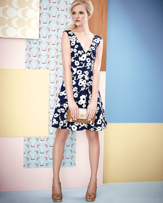 Kate Spade Martin Floral-Jacquard Flare Dress