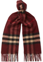 Burberry Checked Cashmere Scarf - Burgundy