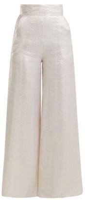 Adriana Iglesias Ana Wide Leg Silk Blend Satin Trousers - Womens - White