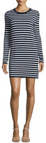 Michael Kors Striped Long-Sleeve T-Shirt Dress, Maritime/White