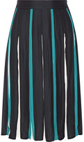 Diane von Furstenberg Melita Pleated Silk-blend Skirt - Midnight blue