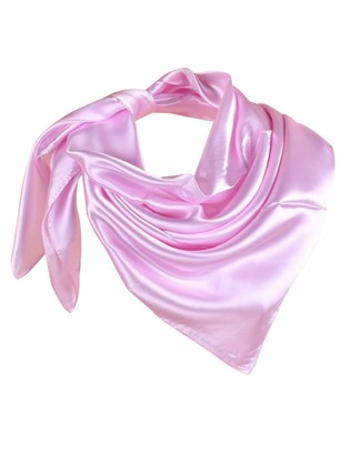 Letuwj Women Satin Silk Scarf Pink One Size