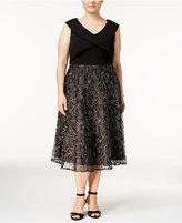 Alex Evenings Plus Size Metallic Tea-Length Dress