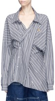 Ground Zero Stripe asymmetric panel Oxford shirt