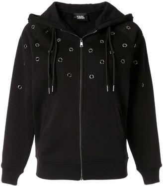 Karl Lagerfeld Paris eyelet detail hoodie