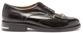 Toga Virilis Polido Fringed Leather Derby Shoes - Mens - Black