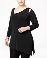 Alfani Plus Size Cold-Shoulder Asymmetric Top, Only at Macy's
