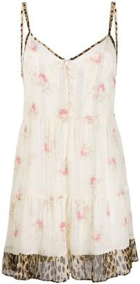 R 13 Layered Floral-Print Slip Dress