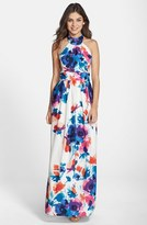 Eliza J Women's Floral Print Halter Maxi Dress