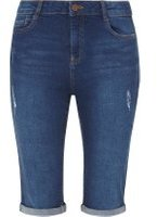 Dorothy Perkins Womens **Tall Mid Wash Abrasion Knee Length Shorts- Blue