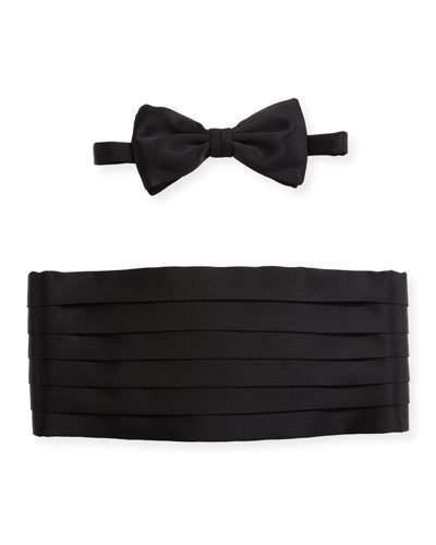 Brioni Satin Cummerbund & Bow Tie Set, Black