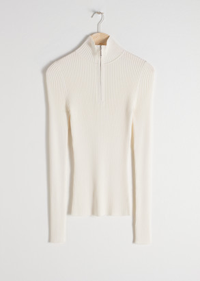And other stories Zippered Rib Knit Turtleneck