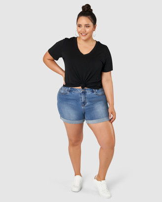 Indigo Tonic - Women's Navy Denim - Riley Boyfriend Shorts - Size One Size, 16 at The Iconic
