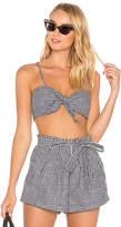 For Love & Lemons Gingham Crop Top in Black