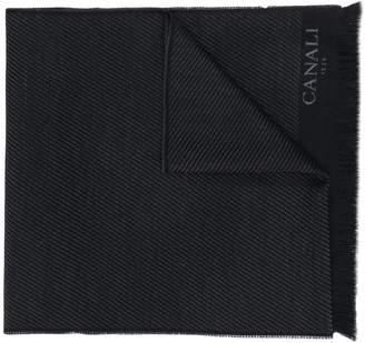 Canali fringed fine knit scarf