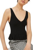 Topshop Women's Ruffle Hem Knit Tank