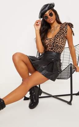 PrettyLittleThing Tan Leopard Print Tie Detail Bodysuit