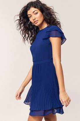 Oasis Rich Blue Chiffon Pleated Skater Dress