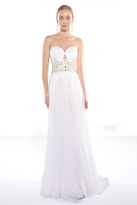 Alyce Paris - Strapless Ruched Sweetheart Beaded Long Chiffon Dress 1006