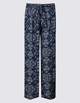 M&S Collection Printed Crepe Wide Leg Trousers