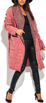 Red Plaid Belted Wool-Blend Coat - Plus Too