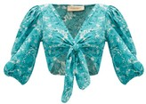 Adriana Degreas Tie-front Floral-print Crepe De Chine Top - Womens - Blue Print