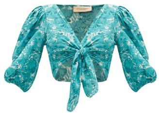 Adriana Degreas Tie-front Floral-print Crepe De Chine Top - Blue Print