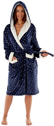 MAS_Q Womens Hooded Robe with Sherpa Trim - Navy with Silver Foil All over Star Print. Grey 8/10