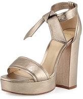 Alexandre Birman Celine Platform Metallic Leather Sandal, Luna