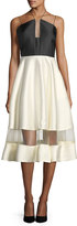 Phoebe Couture Two-Tone Midi Halter Cocktail Dress