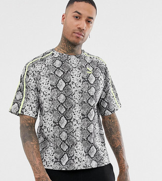 Puma t-shirt in all over snake print in grey Exclusive at ASOS