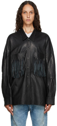 R 13 Black Leather Fringed Shirt