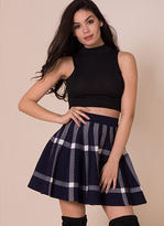 Missy Empire Catya Navy Check Print Skater Skirt