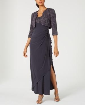 Alex Evenings Draped Gown & Glitter Bolero Jacket