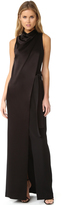 Halston Draped Neck Satin Gown with Belt