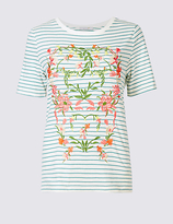 Per Una Cotton Rich Floral Embroidered T-Shirt