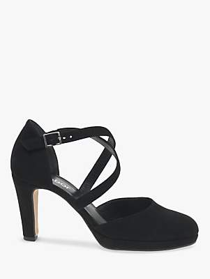 Gabor Sabine Cone Heel Cross Strap Court Shoes, Black