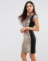 French Connection Lunar Sparkle Dress In Gold