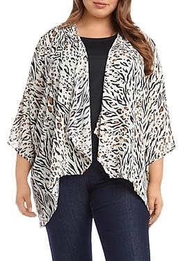 Karen Kane Plus Animal Print Drape-Front Kimono