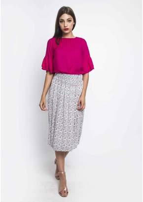 Compania Fantastica Floral Print 3/4 Length Midi Pencil Skirt