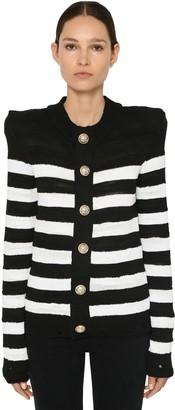 Balmain Striped Knit Cotton Blend Cardigan