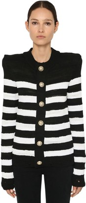 Balmain Striped Knit Cotton Blend Cardigan