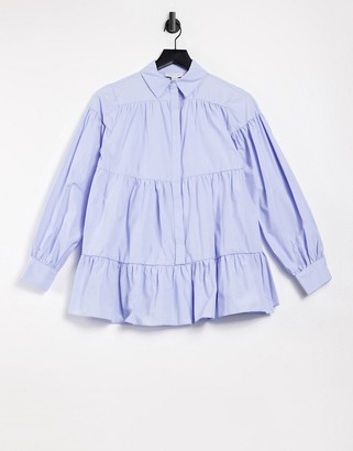 Topshop striped tiered poplin shirt in blue