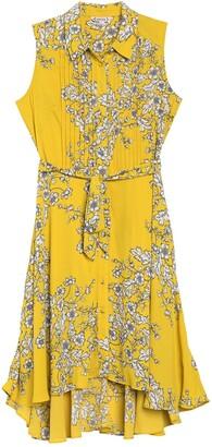 Nanette Lepore Pintuck Pleated Floral Shirt Dress