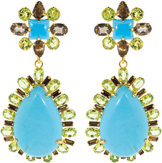 Bounkit Turquoise and Periot Earrings