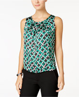 Nine West Printed Pleat-Neck Top