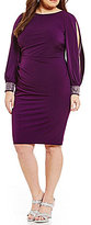 Jessica Howard Jeweled Long Sleeve Tucked Sheath Dress