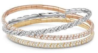 David Yurman Pavé Flex Three Row Bracelet with Diamonds in 18K Gold