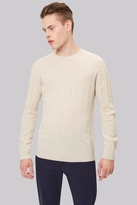 Moss Bros Ecru Cable Crew Neck Jumper
